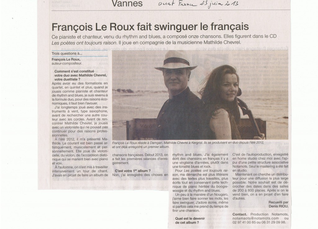 INTERVIEW OUEST FRANCE 25 06 2013