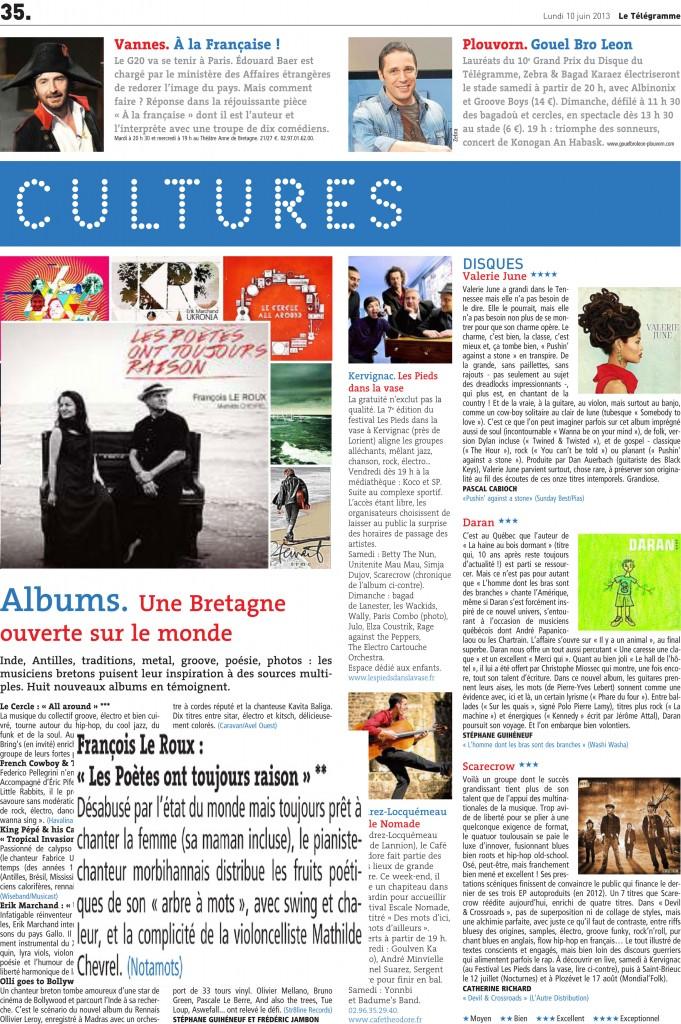 PAGE-CULTURES-LE-TÉLÉGRAMME 10 juin 2013